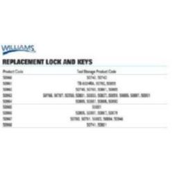 Williams 50960 Lock and Key Set