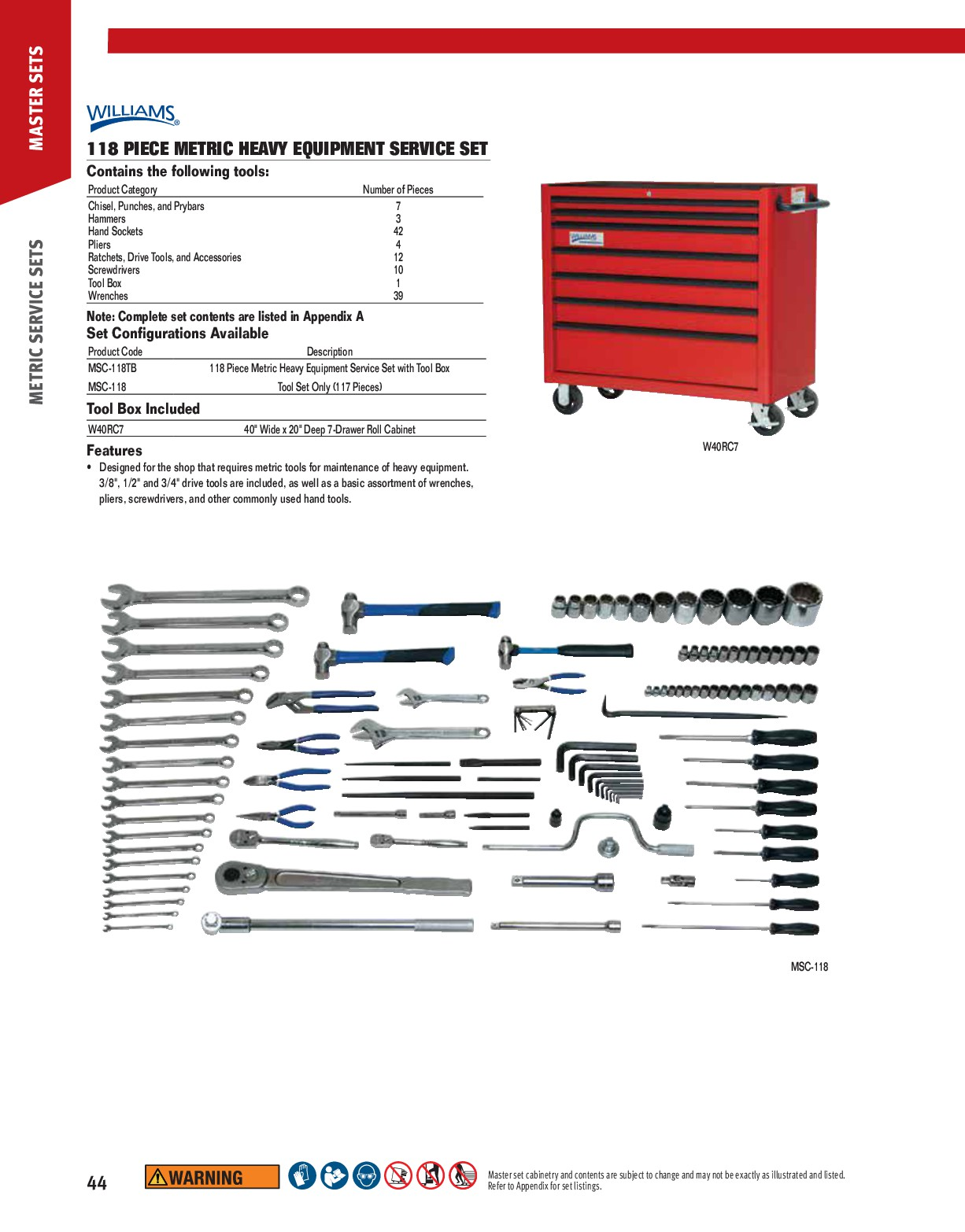 Williams MSC-118TB 118 Piece Metric Heavy Equipment - with Tool Box