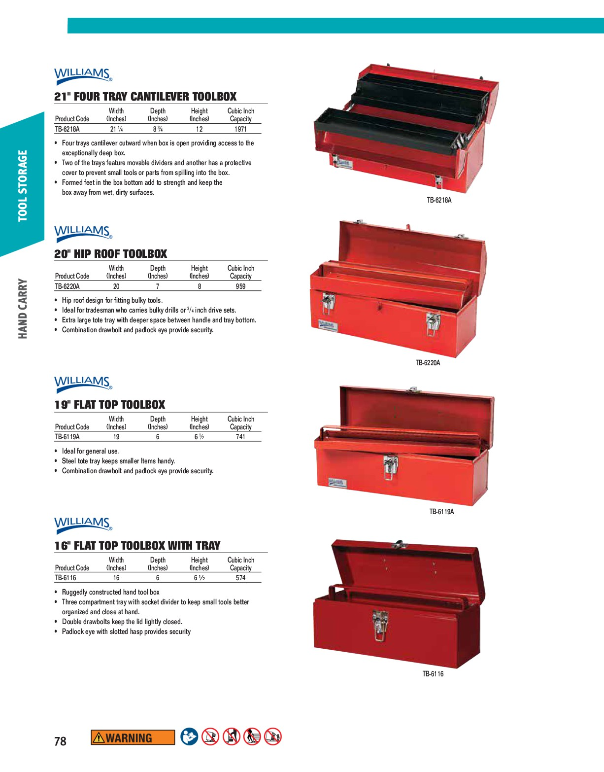 Williams TB-6220A Hip Roof Toolbox 20