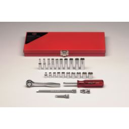 Wright Tool 224 1/4-inch Drive 25 Pieces Standard and Deep Metric Socket Set 6-Point