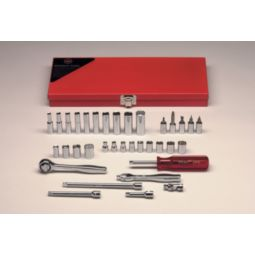 Wright Tool 236 1/4-inch Drive 35 Pieces Standard and Deep Socket with Screwdreiver Socket Bit Set 6,8 & 12-Point