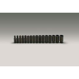 Wright Tool 467 1/2-inch Drive 16 Pieces Deep Metric Impact Socket Set 6-Point