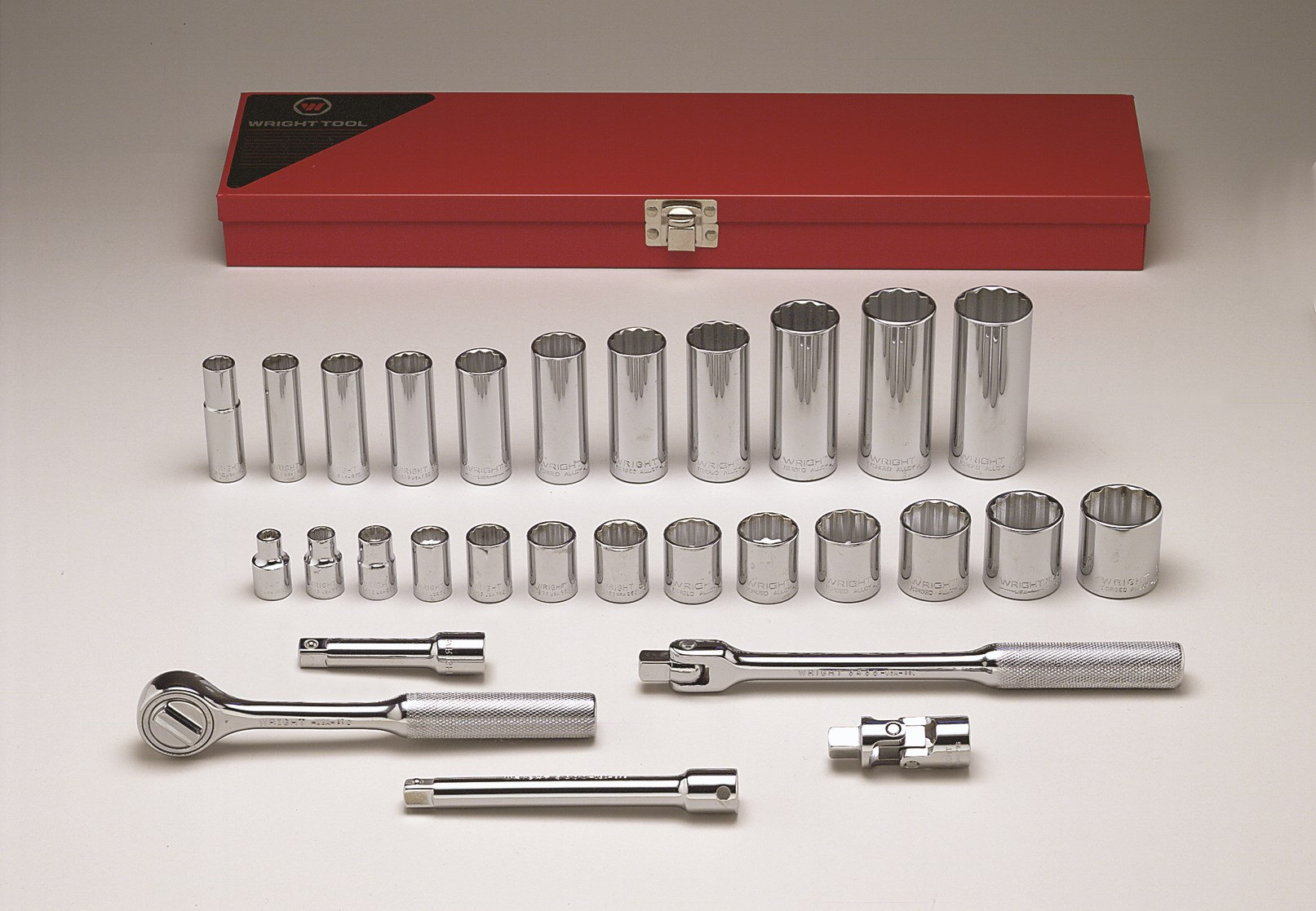 Wright Tool 340 3/8-inch Drive 29 Pieces Standard and Deep Socket Set 12-Point