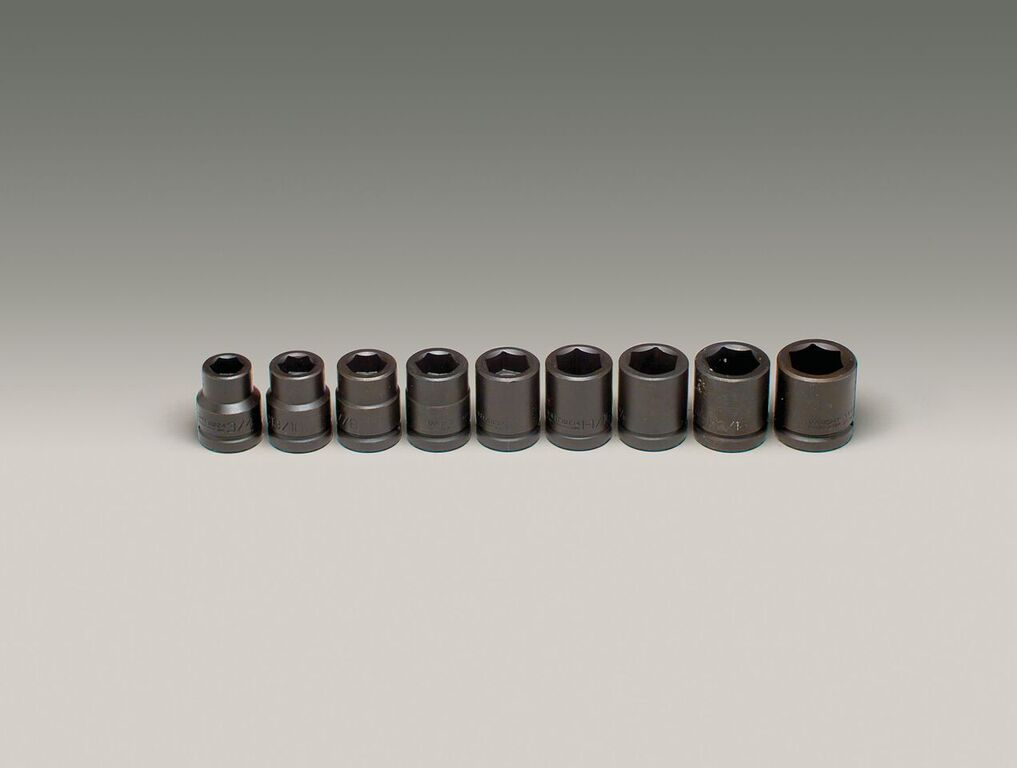 Wright Tool 609 3/4-inch Drive 9 Pieces Standard Impact Socket Set 6-Point