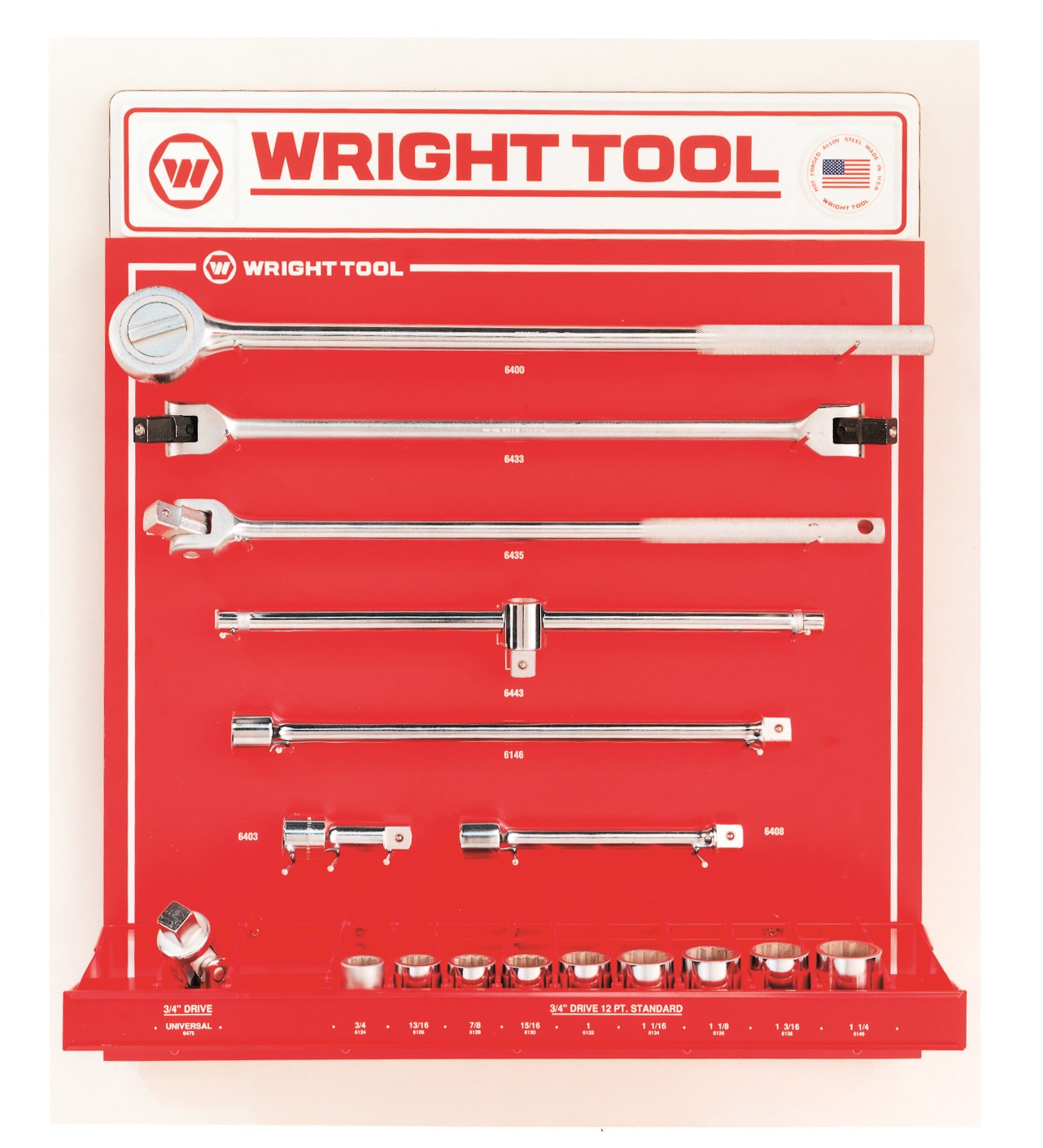 Wright Tool D949 16 Piece 3/4-inch Drive 12-Point Sockets, Handles & Attachments