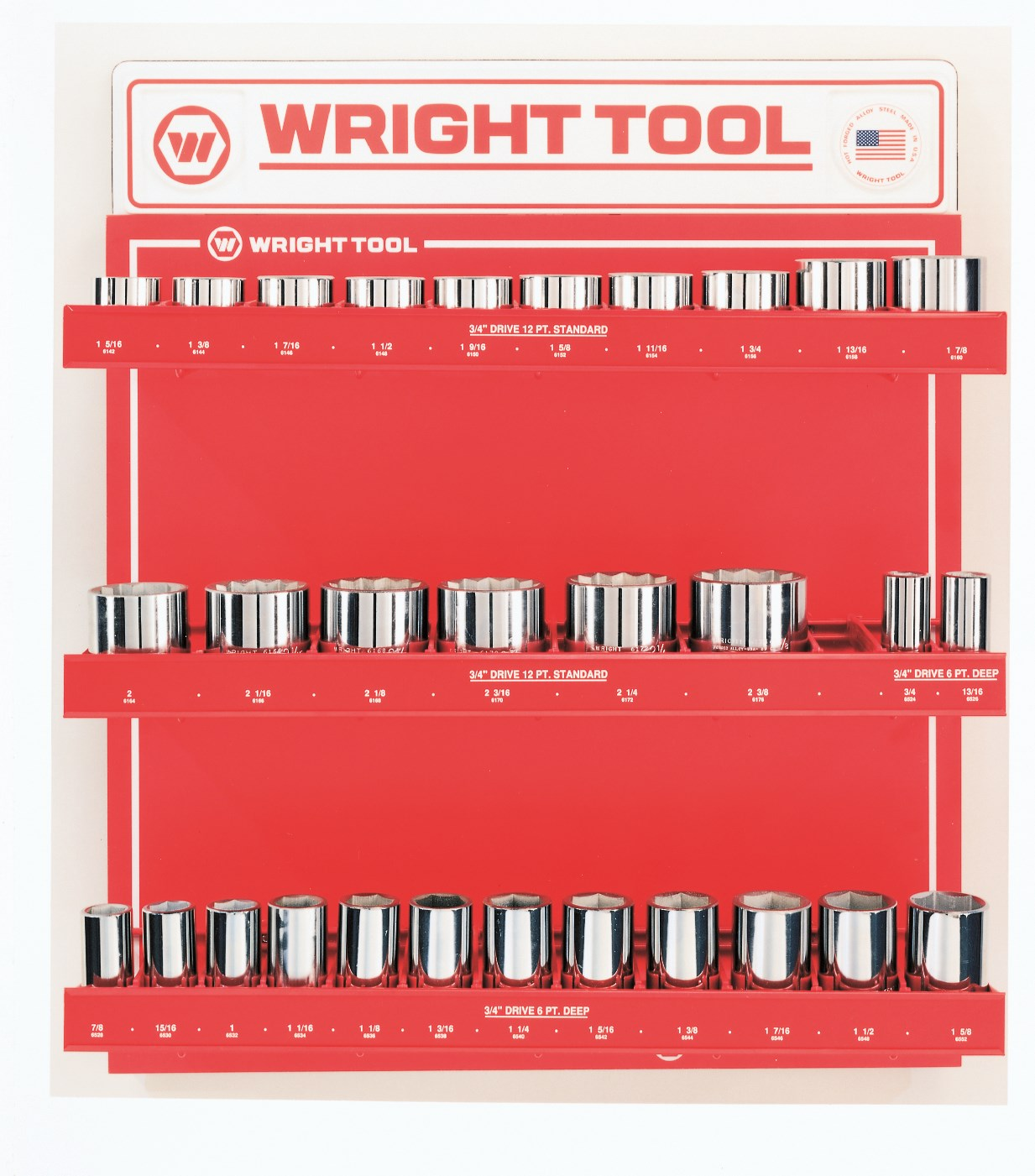 Wright Tool D950 30 Piece 3/4-inch Drive 12-Point Standard and Deep Sockets