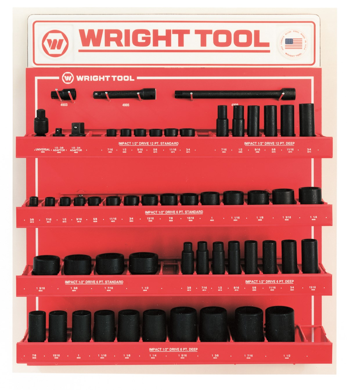 Wright Tool D953 55 Piece 1/2-inch Drive 6 & 12-Point Standard & Deep Impact Sockets & Attachments
