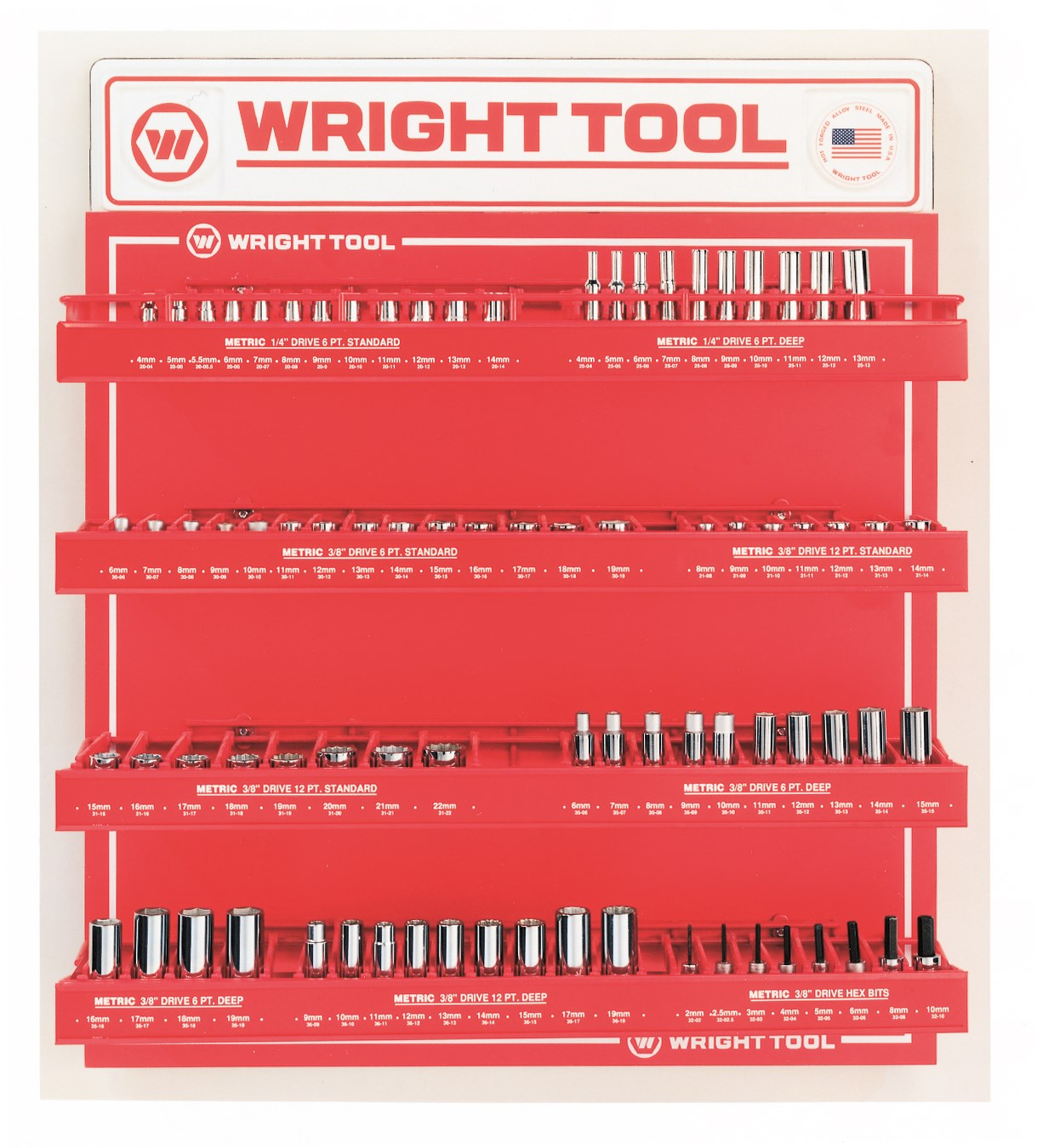 Wright Tool D957 78 Piece Metric 1/4-inch & 3/8-inch Drive 6 & 12-Point Sockets