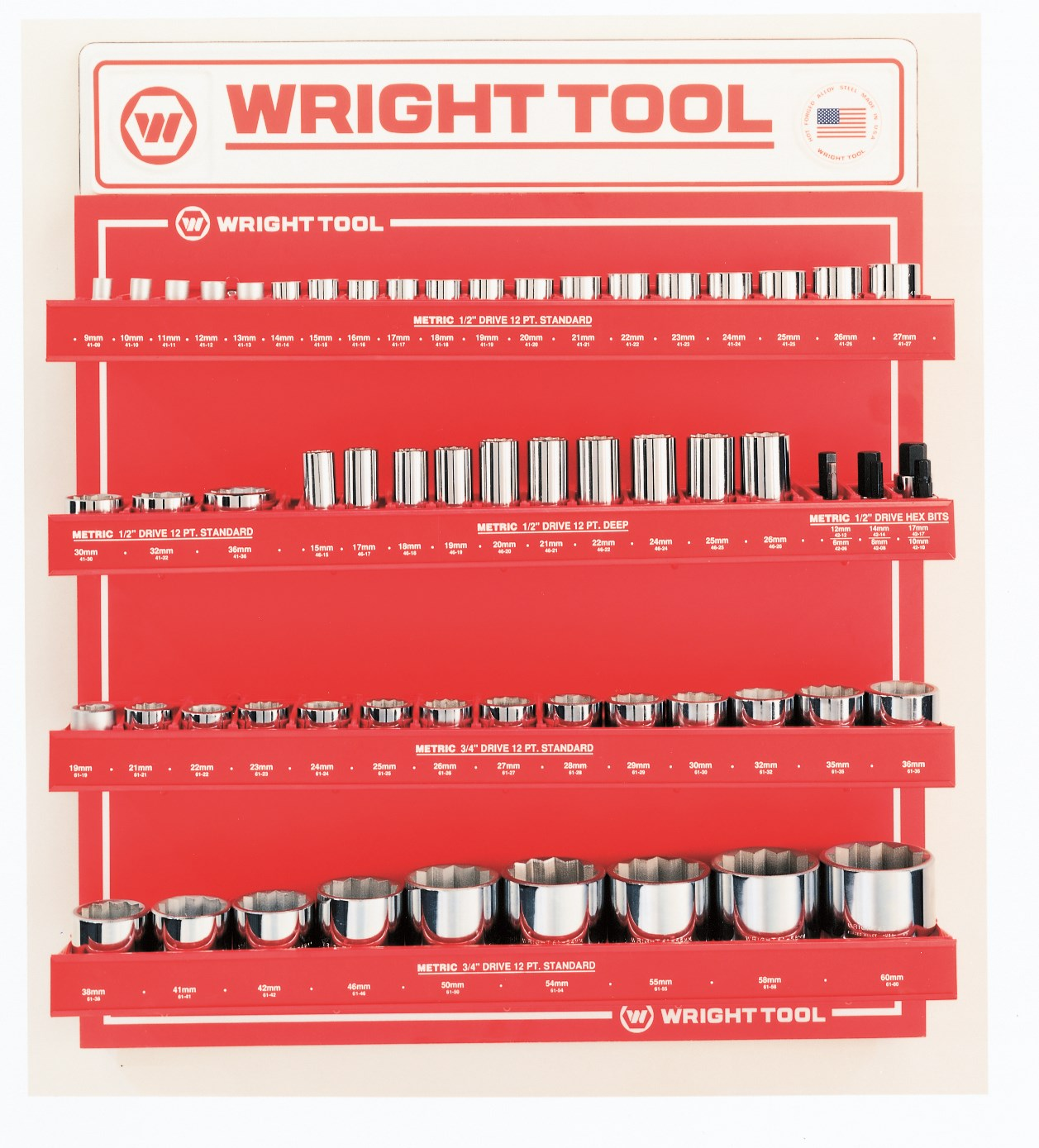 Wright Tool D958 61 Piece Metric 1/2-inch & 3/4-inch Drive 12-Point Sockets