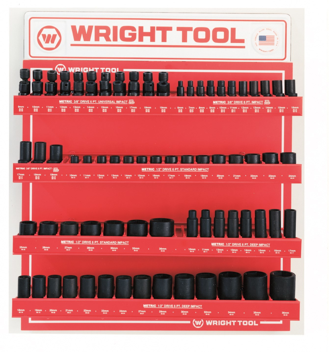 Wright Tool D959 94 Piece Metric 3/8-inch & 1/2-inch Drive 6-Point Standard & Deep Impact Sockets