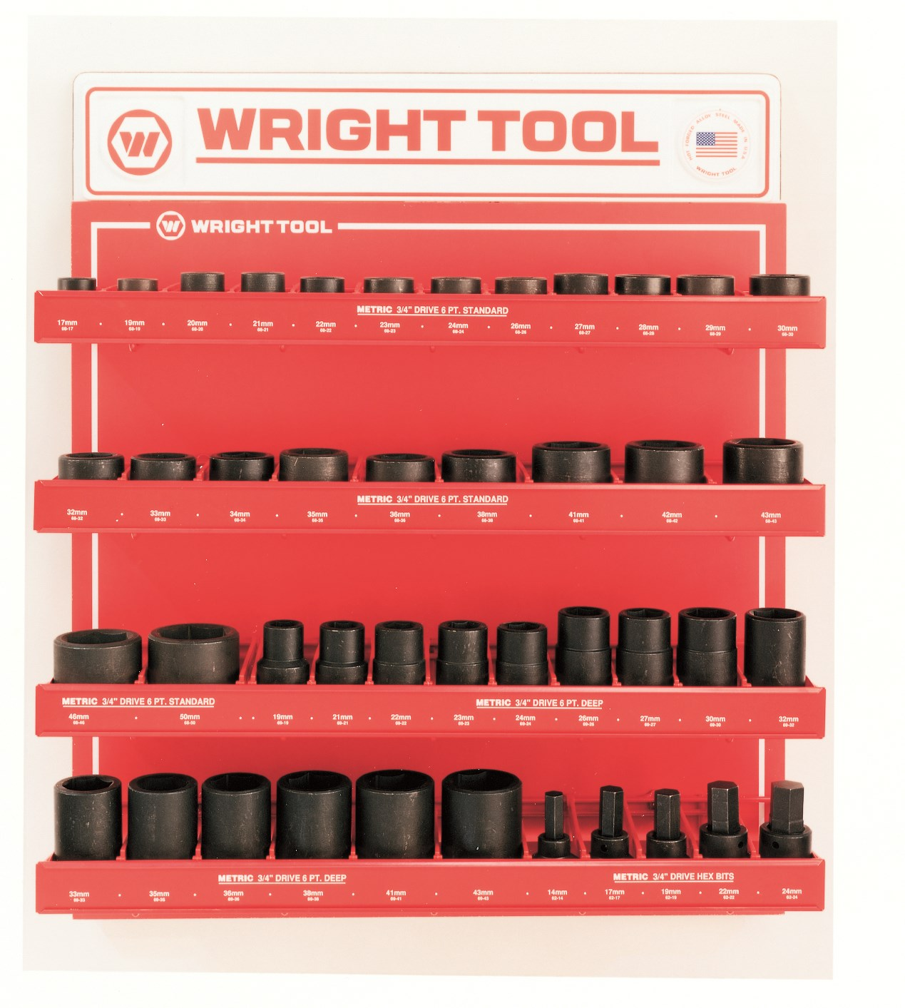 Wright Tool D960 43 Piece 3/4-inch Drive 6-Point Standard and Deep Sockets
