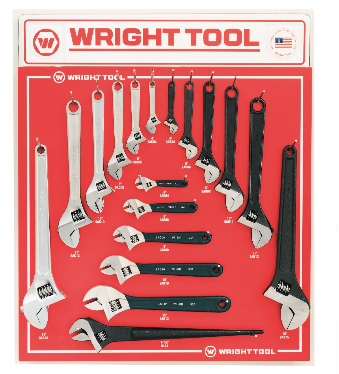 18 Piece Adjustable Wrenches - Wright Tool D961