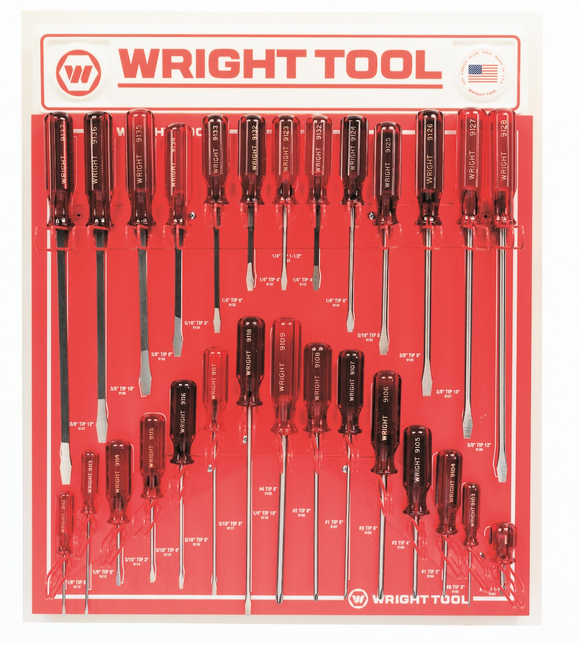 Wright Tool D973 28-Pc. Screwdriver Set - Jumbo Three Flute Ergonomic Handle