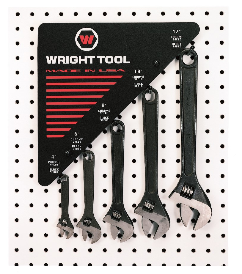 30 Piece Adjustable Wrenches 6 of Each size Black - 12 inch Wide Display - Wright Tool D976