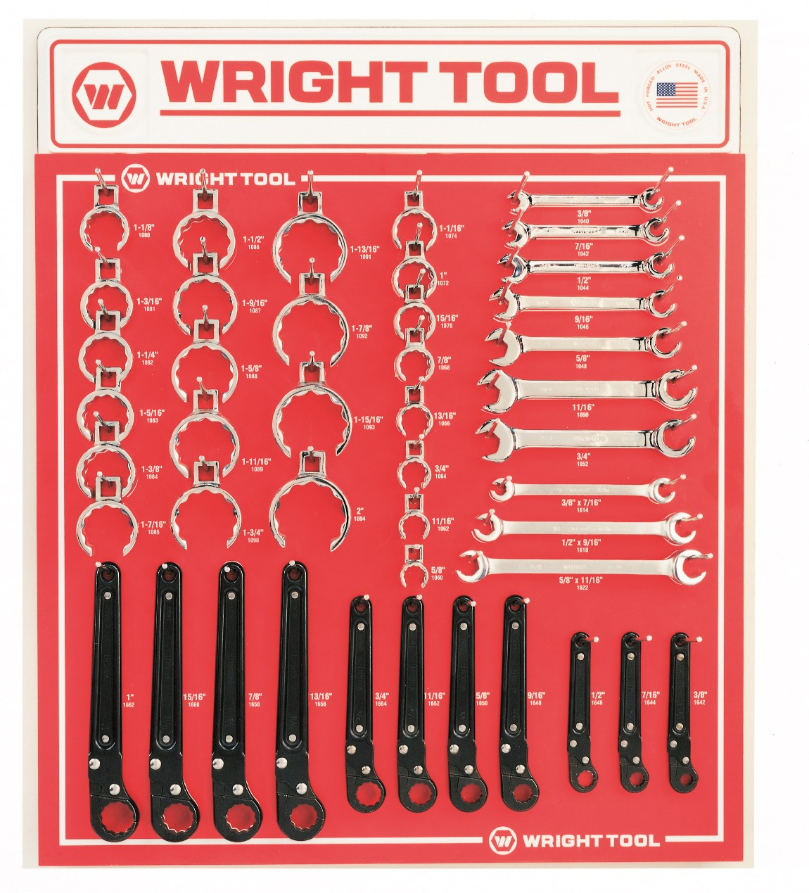 Wright Tool D981 44 Piece Crowfoot Flare Style and Flare Nut Wrenches