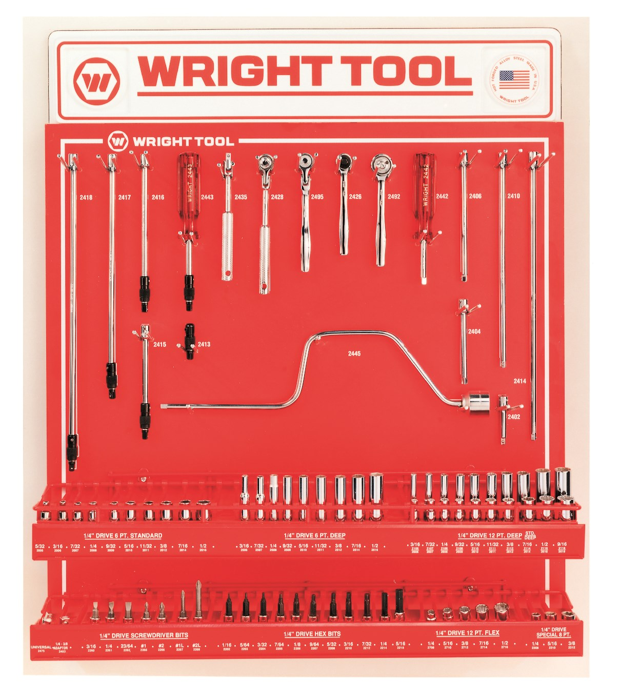 Wright Tool D982 79 Piece 1/4-inch Drive 6 & 12-Point Sockets, Handles & Attachments