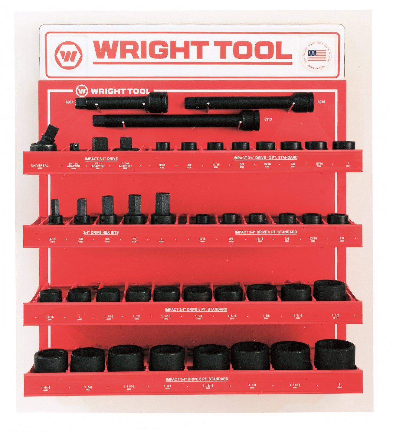 Wright Tool D985 44 Piece 3/4-inch Drive 6 & 12-Point Standard Impact Sockets & Attachments