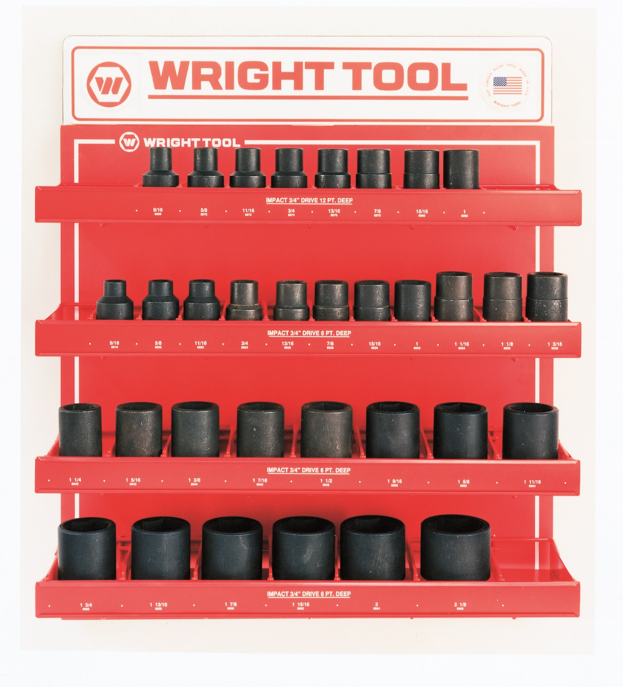 Wright Tool D986 33 Piece 3/4-inch Drive 6 & 12-Point Deep Impact Sockets