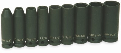 Williams JHW36904 3/8 Drive Impact Socket Set, 6-Point, 9 Piece SAE