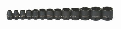 Williams JHW36921 Impact Socket Set 3/8 Drive 12 Piece Standard 12-Point SAE