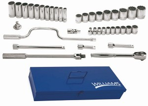 38 Piece 1/2 inch Tool Set /W Tb-104 Metal Tool Box - Williams WSS-38FTB