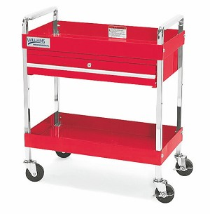 "Williams 50724 4 Drawer 41"" Service Cart With Lid, Red"