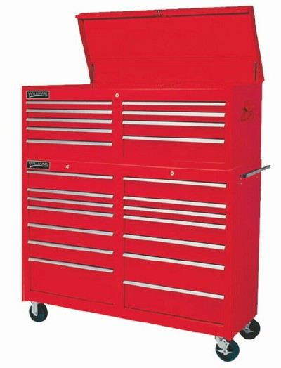 Williams 50891 14 Drawer 53 inch Professional Roll Cabinet Red