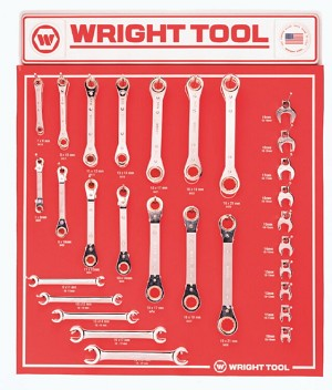 29 Pcs. Ratcheting Box Wrenches, Flare Nut Wrenches, & Open End Crowfoot Wrenches - Wright Tool D956